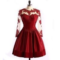 A-line short dresses lace vintage party dresses