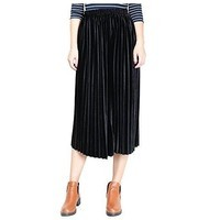 Casual velvet pleated skirt elastic long skirts