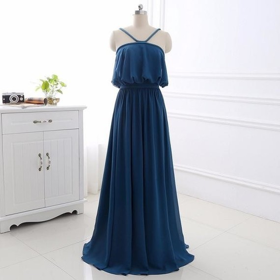 Sexy A-line elegant chiffon bridesmaid dress