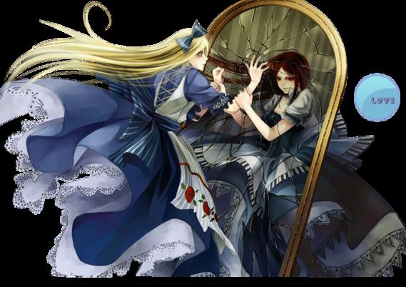 Alice_blonde_robe_bleu_miroir_jumelle_brune