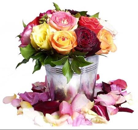 seau metal + roses
