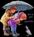 enfants parapluie oie