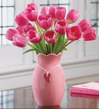 pichet toulipes roses
