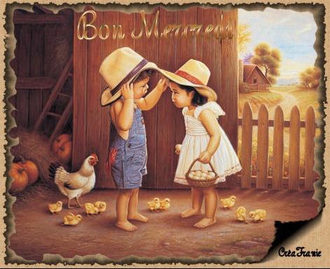bon mercredi enfants + poules poussins