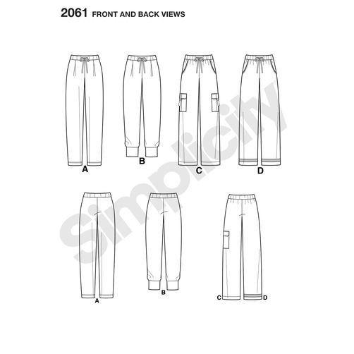 simplicity-sleepwear-pattern-2061-front-back-view