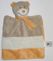 doudou ours plat baby club rayé marron blanc crème et orange, écharpe