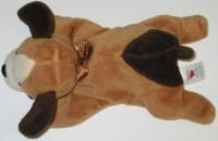 peluche doudou chien baby club marron noir et blanc crème