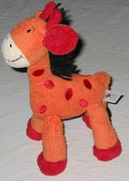 Doudou girafe orange et rouge - Baby Club