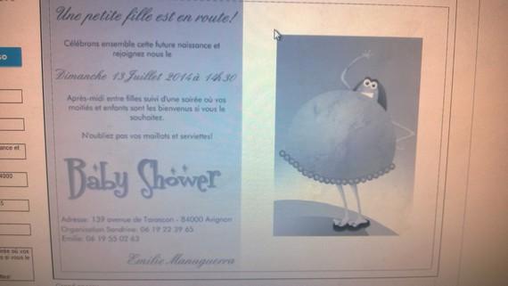 invitation baby shower verso avec une petite faute a corriger!