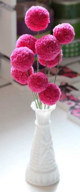 bouquet pompon laine