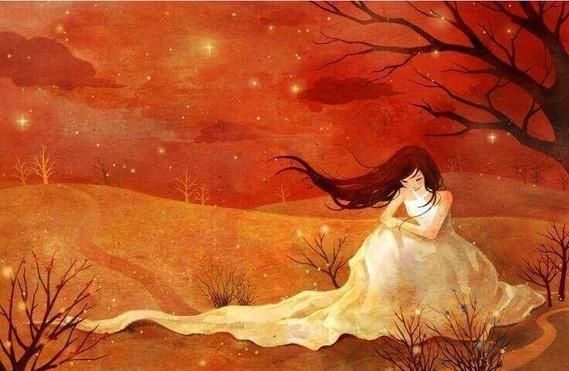 Femme triste et seule