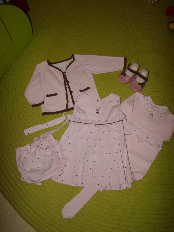 Ensemble Gilet+Robe Portefeuille+Body ML+Blommer+Collants Fins+Chaussures JACADI - 35€