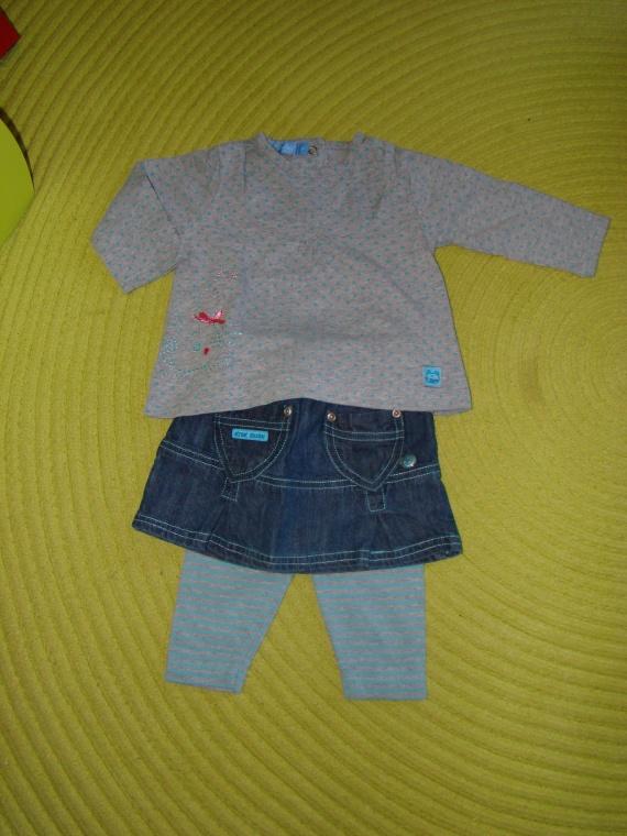 "Ensemble ""Tout Simplement"" Tee-Shirt ML+Jupe+Legging gris/turquoise - 6 mois - 4€"