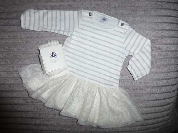 Robe + Collants Petit Bateau - Taille 6 mois