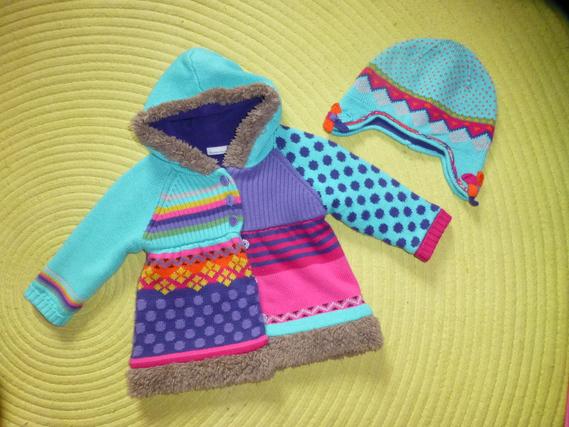Manteau/Gilet en laine doublé polaire + bonnet - Taille 6 mois - 45€