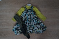 Jean Bourget 18 mois Robe + tee shirt manches longues + collants et guêtres 40 fdpc