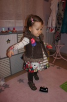 Denim layette 2012 Robe et leggings 2 ans, gilet fourrure 18 mois