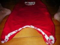 Salopette reversible rouge_détail entrejambe rouge