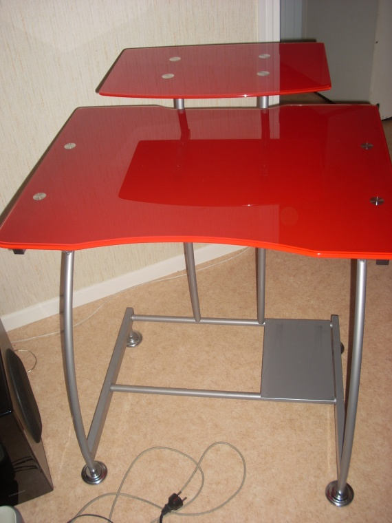 Table de bureau rouge en verre inox 25e neuve vendu - Table de bureau en verre ...