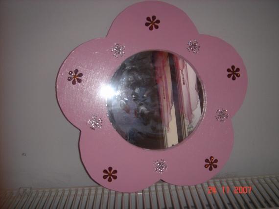miroir fleur perles et bois