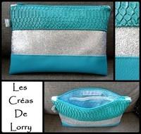 Pochette trio  dragon - pailleté argent - turquoise FE turquoise