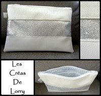 Pochette trio perlé - pailleté argent - blanc - FE blanche  (VENDUE)