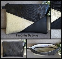 Pochette Triangle 17 € Serpent et Simili noir - P or