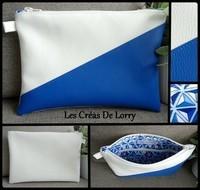 Pochette Bicolore 17 € blanc bleu roi   (VENDUE)