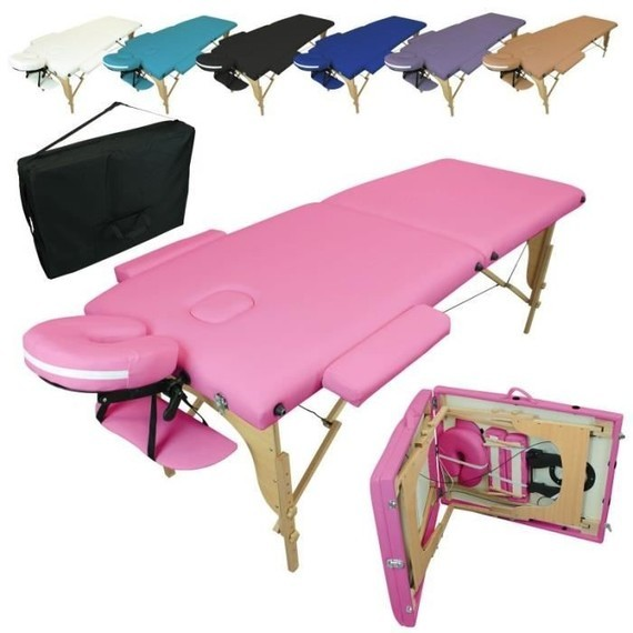 table-de-massage-pliante-2-zones-rose