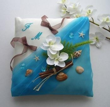 coussin alliances exotique turquoise coquillages orchid es touche chocolat coussins. Black Bedroom Furniture Sets. Home Design Ideas