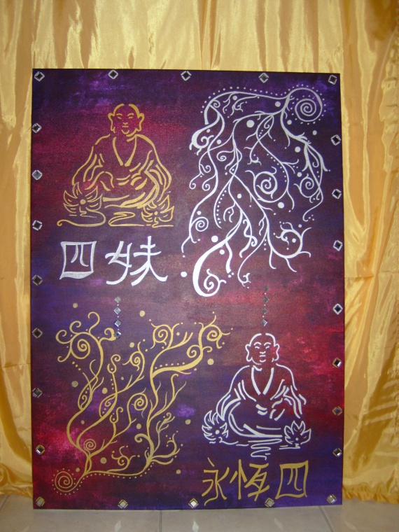 Toile bouddha 4 toiles peinture acrylique christaile photos club doct - Peinture sur toile bouddha ...