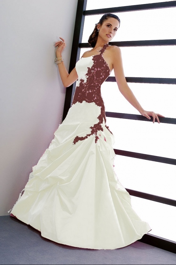 robe de mariee bordeaux et blanche
