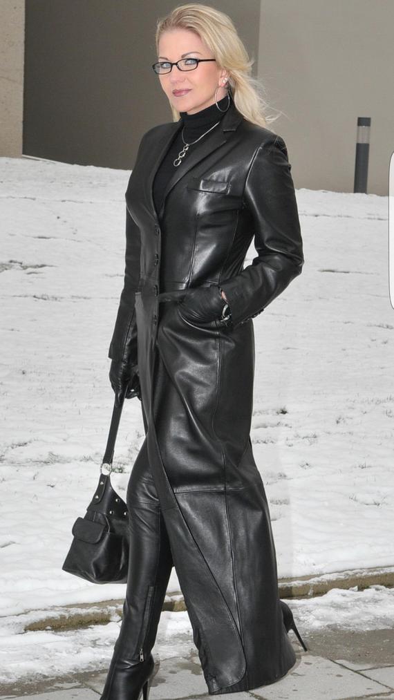 Long manteau en cuir
