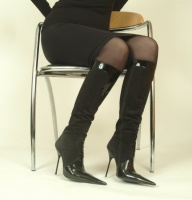 High Heel Knee Boot with Zip, Black Leather and Suede