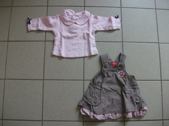 Ensemble robe boule taupe + tee-shirt rose 4 euros 50