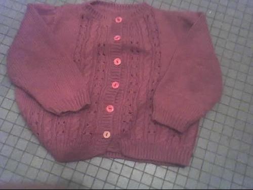 gilet rose fonce en laine fais main