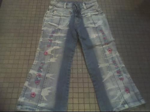 jeans brode fleur