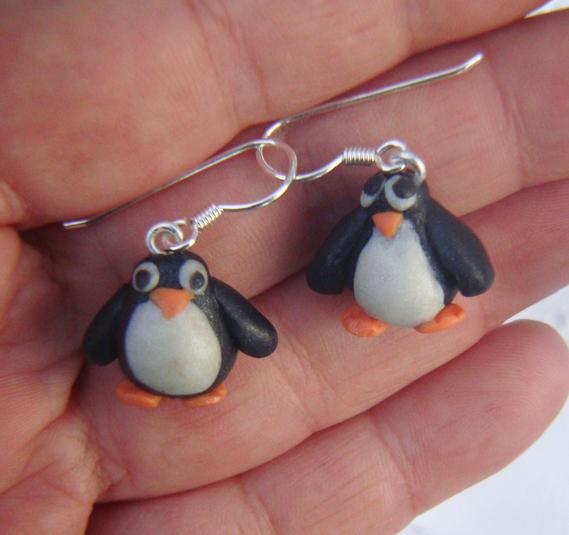 Pendants d'oreille en argent massif origine Italie 925/1000, petits pingouins sculptés en fimo Scul