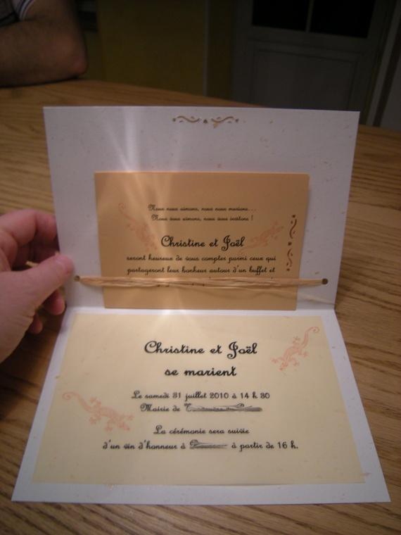 Faire-Part intérieur + carton invitation