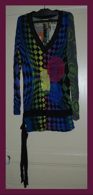 Tunique Longue Multicolore Desigual T.L Comme Neuf