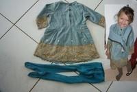 15€ robe tbe marque confetti ,collant jean bourget BE pas de trou petites bouloches