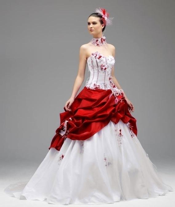 Robe de mariage blanche et rouge  Robe de blanche