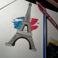 Tour Eiffel + Drapeau Français