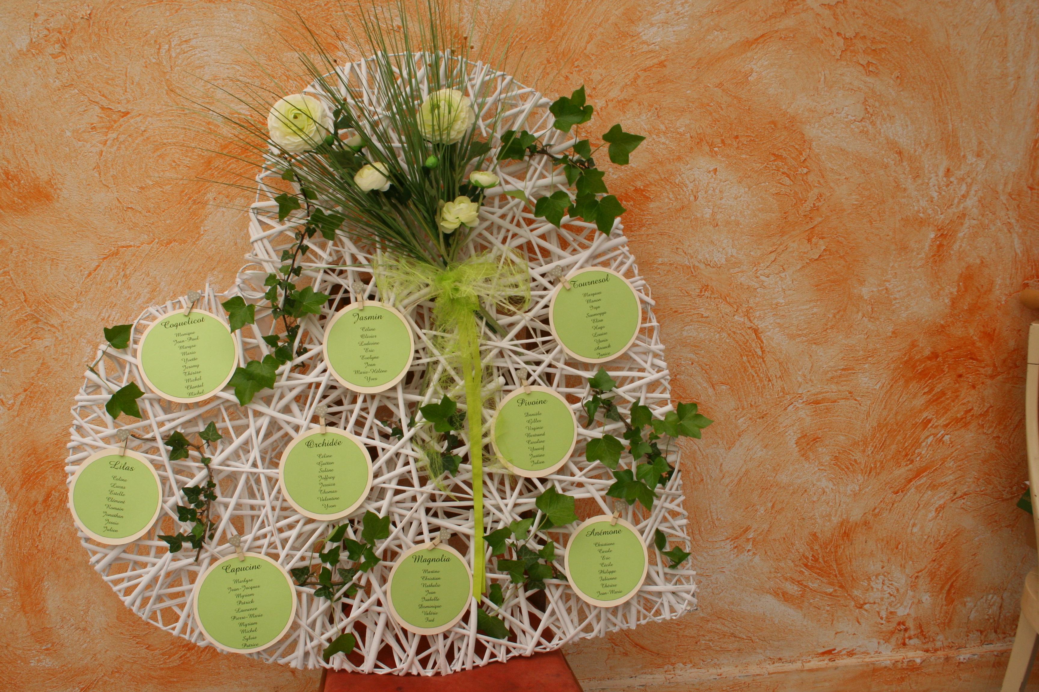 Coeur en rotin plan de table ventes mariage cece59210 - Plan de table coeur mariage ...