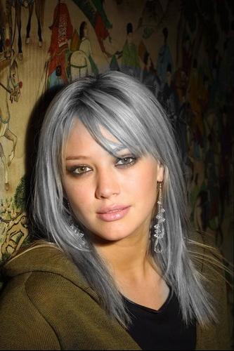 Cheveux blanc meche grise