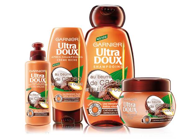 gamme garnier ultra doux beurre de cacao et huile de coco produits frizzy curly photos. Black Bedroom Furniture Sets. Home Design Ideas