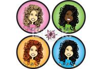 Illustrations cheveux bouclés/frisés/crépus