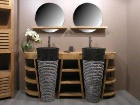 Aco meuble de salle de bain en teck florence double - Meuble de salle de bain original ...