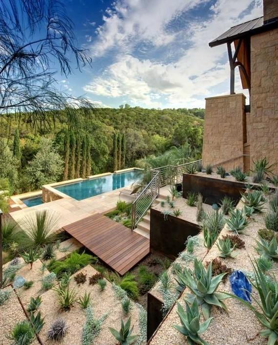 piscine-extérieure-deux-niveaux-jardin-rocaille-plantes-grasses ...