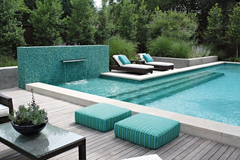 Exterieur Moderne Turquoise Tabourets Piscine Longues Grande Chaises yYbf76g